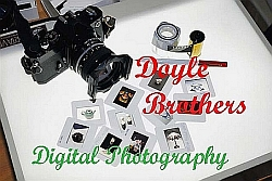 A picture of a camera, a roll of film and slides; the logo for Doyle Brothers Digital Photography